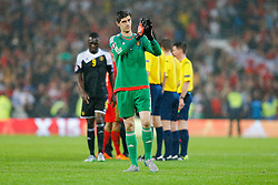 Thibaut Courtois of Belgium (Chelsea) looks frustrated after Wales win the match 1-0 to top their UEFA2016 Qualifying Group - Photo mandatory by-line: Rogan Thomson/JMP - 07966 386802 - 12/06/2015 - SPORT - FOOTBALL - Cardiff, Wales - Cardiff City Stadium - Wales v Belgium - EURO 2016 Qualifier.