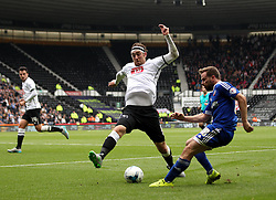 Richard Keogh of Derby County stops a cross from Alan Judge of Brentford - Mandatory byline: Robbie Stephenson/JMP - 07966 386802 - 03/10/2015 - FOOTBALL - iPro Stadium - Derby, England - Derby County v Brentford - Sky Bet Championship