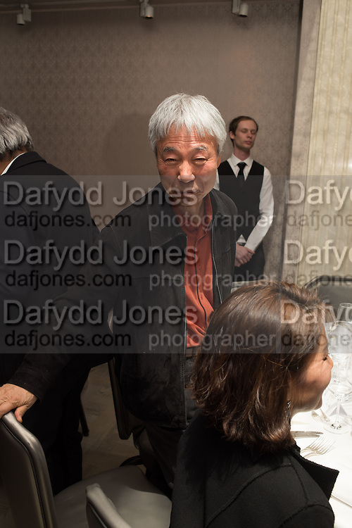 LEE UFAN, Anish Kapoor and Lee Ufan preview dinner hosted by the Lisson Gallery after the opening on Bell St. The Connaught. London. 23 March 2015