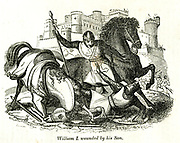 William I wounded by his Son from the book History of England : with separate historical sketches of Scotland, Wales, and Ireland; from the invasion of Julius Cæsar until the accession of Queen Victoria to the British throne. By Russell, John, A. M., Published in Philadelphia by Hogan & Thompso in 1844