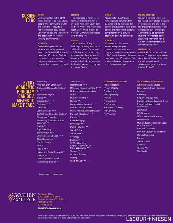 Viewbook for Goshen College, Goshen, Ind. Design by Mindpower Inc. (www.mindpowerinc.com)
