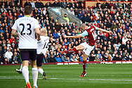 Burnley's David Jones sees his shot blocked. Barclays Premier league match, Burnley v Everton at Turf Moor in Burnley, Lancs on Sunday 26th October 2014.<br /> pic by Chris Stading, Andrew Orchard sports photography.
