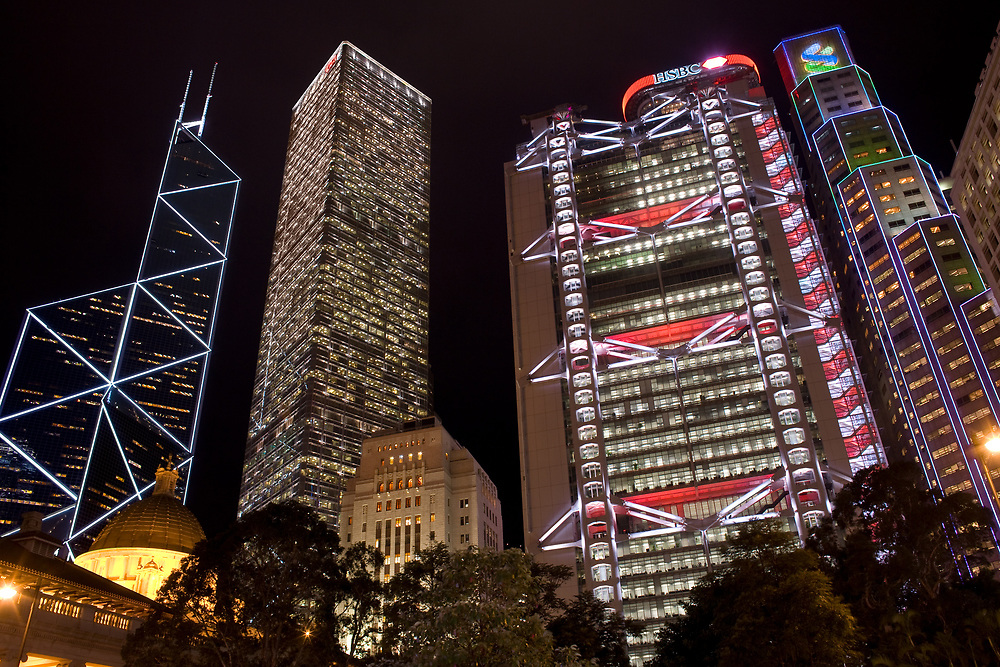 Hong Kong, Admiralty, China - December 03, 2008: skyline of corporate buildings with the Bank of China designed by architect IM Pei and the HSBC building designed by architect Norman Foster from the Statue Square.