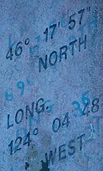 Location Inscription on North Head Lighthouse, Ilwaco, Washington, US