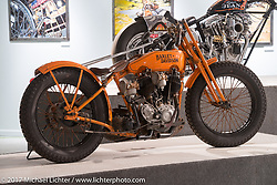 Matt Walksler's 1929 Harley-Davidson JDH Cut Down Racer in the Old Iron - Young Blood exhibition in the Motorcycles as Art gallery at the Buffalo Chip during the annual Sturgis Black Hills Motorcycle Rally. Sturgis, SD, USA. Wednesday August 9, 2017. Photography ©2017 Michael Lichter.