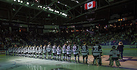 KELOWNA, CANADA - SEPTEMBER 25: The Kelowna Rockets line up against the Kamloops Blazers during the regular season home opener on September 25, 2015 at Prospera Place in Kelowna, British Columbia, Canada.  (Photo by Marissa Baecker/Getty Images)  *** Local Caption *** Kelowna Rockets;