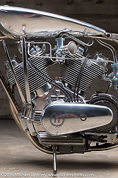 Max Hazan's custom V-Twin Musket Motorcycle (two Royal Enfield Singles in a single bottom end) at the Handbuilt Show. Austin, TX, USA. April 7, 2016.  Photography ©2016 Michael Lichter.