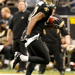 December 4, 2011; New Orleans, LA, USA; New Orleans Saints wide receiver Robert Meachem (17) catches a pass and runs for a touchdown against the Detroit Lions during a game at the Mercedes-Benz Superdome. The Saints defeated the Lions 31-17. Mandatory Credit: Derick E. Hingle-US PRESSWIRE