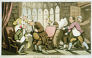 Dr Syntax in Danger: Aquatint of Rowlandson illustration for William Combe 'Tours of Doctor Syntax', 1820. Strawberry Hill Gothic window: Doctor peers in Syntax's mouth, while manservant rushes in holding steaming plate and wooden bucket of cold water. All three women in mob caps: Dr Syntax in cap.