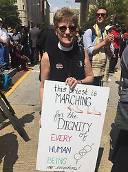 August 28, 2017 - USA - On Monday, the 54th anniversary of the 1963 March on Washington, religious leaders marched from the Martin Luther King, Jr. Memorial to the Justice Department to protest the policies of the Trump administration. (Credit Image: © Tony Pugh/TNS via ZUMA Wire)