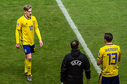March 23, 2019 - Stockholm, SWEDEN - 190323 Emil Forsberg is substituted for Gustav Svensson of Sweden during the UEFA Euro Qualifier football match between Sweden and Romania on March 23, 2019 in Stockholm  (Credit Image: © Simon HastegÃ…Rd/Bildbyran via ZUMA Press)