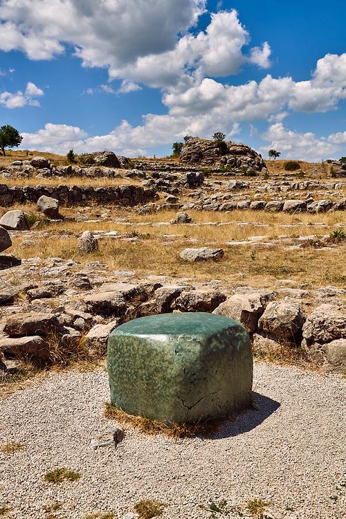 Green polished cult stone of temple I, Hattusa (also Ḫattuša or Hattusas) late Anatolian Bronze Age capital of the Hittite Empire. Hittite archaeological site and ruins, Boğazkale, Turkey.