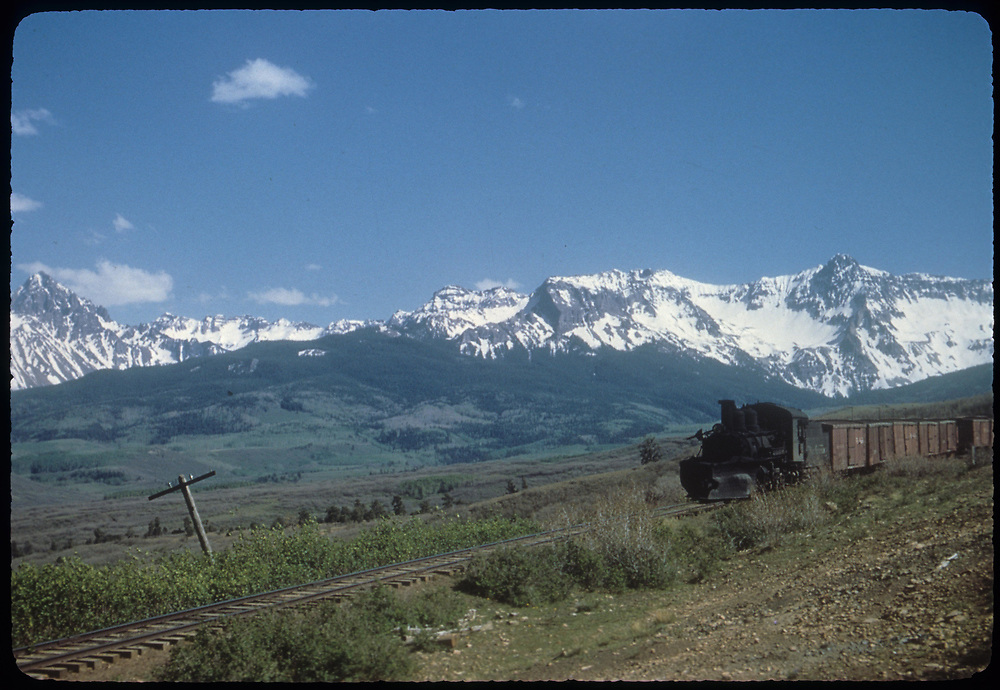 "RGS #455 with northbound 14-car freight near Valley View after coming down Dallas Divide.<br /> RGS  Valley View, CO  Taken by Kindig, Richard H. - 6/7/1951<br /> In book ""RGS Story, The Vol I: Over the Bridges-Ridgway to Telluride"" page 186<br /> Thanks to Don Bergman for additional information."