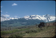 """RGS #455 with northbound 14-car freight near Valley View after coming down Dallas Divide.<br /> RGS  Valley View, CO  Taken by Kindig, Richard H. - 6/7/1951<br /> In book """"RGS Story, The Vol I: Over the Bridges-Ridgway to Telluride"""" page 186<br /> Thanks to Don Bergman for additional information."""