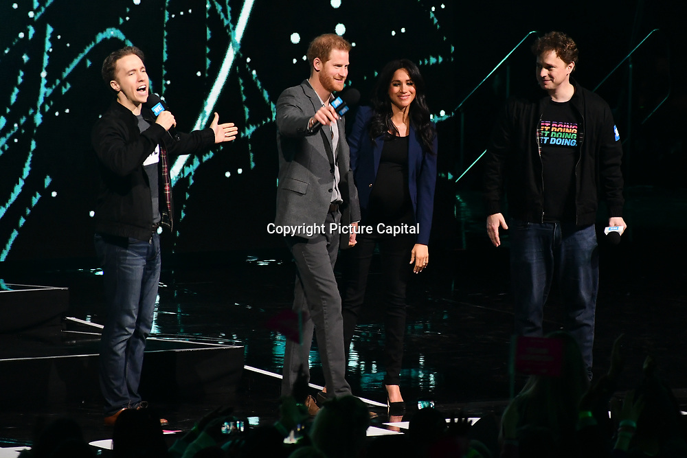 Prince Harry and Meghan Markle at the WE Day UK at Wembley Arena, London, Uk 6 March 2019.