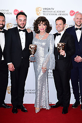 (left to right) Ant McPartlin, Joan Collins and Declan Donnelly with the award for Best Entertainment Programme in the press room at the Virgin TV British Academy Television Awards 2017 held at Festival Hall at Southbank Centre, London.