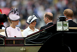 Sophie, Countess of Wessex (left) and Meghan, Duchess of Sussex with Prince Edward, Earl of Wessex and Prince Harry, Duke of Sussex arriving during day one of Royal Ascot at Ascot Racecourse.