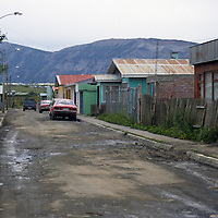 Americas, South America, Chile, Puerto Natales. A quiet street in Puerto Natales.