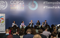 5 December 2019, Madrid, Spain: UNFCCC Executive Secretary Patricia Espinosa hosts a youth briefing at COP25 in Madrid.