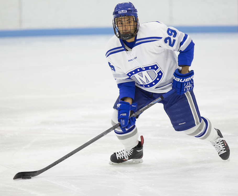 Kai Frankville, of Colby College, in a NCAA Division III hockey game against Connecticut College on February 20, 2015 in Waterville, ME. (Dustin Satloff/Colby College Athletics)