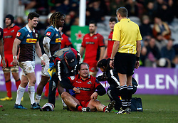 Edinburgh Rugby's WP Nel sits injured during the European Challenge Cup, pool five match at Twickenham Stoop, London.