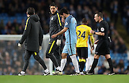 Ilkay Gundogan of Manchester City walks off injured during the English Premier League match at The Etihad Stadium, Manchester. Picture date: December 12th, 2016. Photo credit should read: Lynne Cameron/Sportimage
