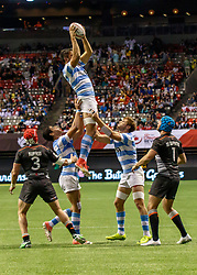 March 10, 2018 - Vancouver, British Columbia, U.S. - VANCOUVER, BC - MARCH 10: Aregentina high in the air to snag the line out throw during Game # 22- Argentina vs England Pool B match at the Canada Sevens held March 10-11, 2018 in BC Place Stadium in Vancouver, BC. (Photo by Allan Hamilton/Icon Sportswire) (Credit Image: © Allan Hamilton/Icon SMI via ZUMA Press)