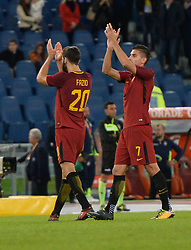 October 25, 2017 - Rome, Italy - Federico Fazio and Pellegrini of AS Roma celebrate the victory after the Italian Serie A football match between A.S. Roma and F.C. Crotone at the Olympic Stadium in Rome, on october 25, 2017. (Credit Image: © Silvia Lore/NurPhoto via ZUMA Press)