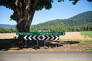 A road sign at the Mossman Gorge visitor center at the southern part of Daintree National Park in Queensland, Australia