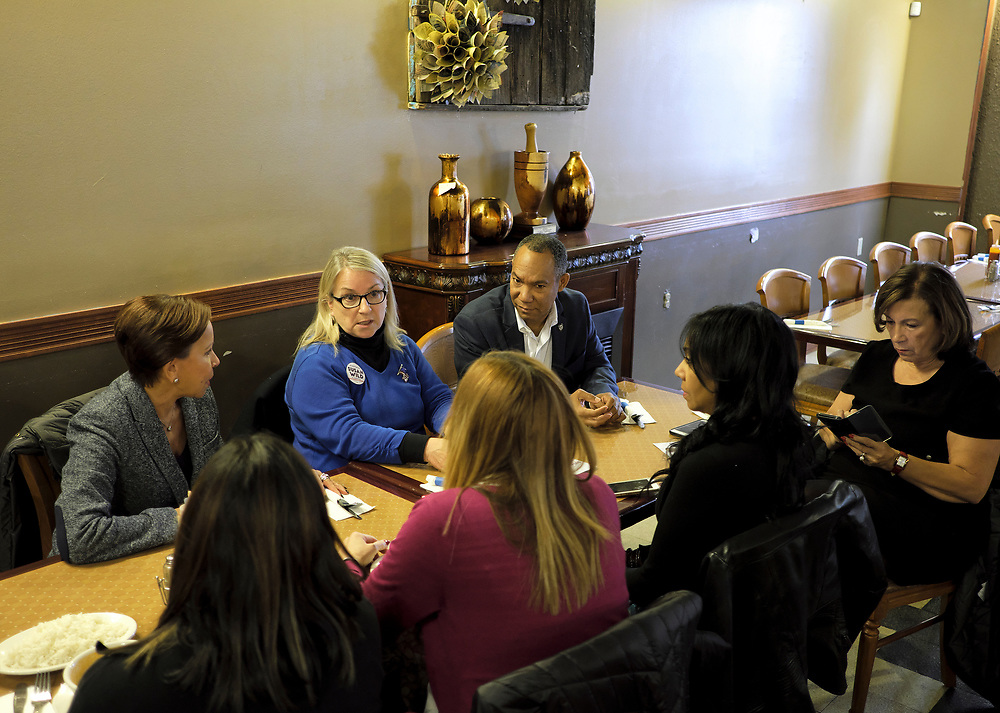 Susan Wild, Democratic candidate for Pennsylvania's new 7th Congressional District, meets with New York Congresswoman Nydia Velázquez, left, as well as local leaders in the latino community during a lunch Oct. 22, 2018, at Mar & Tierra Restaurant in Allentown, Pennsylvania.