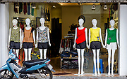 Ladies clothing store front in the Old Quarter of Hanoi, Vietnam. Color tops are in.