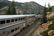 Train tracks along the trans-Sierra Railroad near Emigrant Gap, California