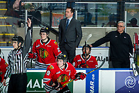 KELOWNA, BC - FEBRUARY 8: Portland Winterhawks' Associate Coach and Asst. GM, Kyle Gustafson, stands on the bench during third period at the Kelowna Rockets at Prospera Place on February 8, 2020 in Kelowna, Canada. (Photo by Marissa Baecker/Shoot the Breeze)