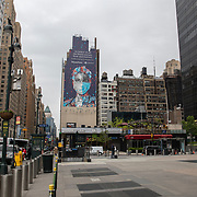 The area adjacent to Times Square remains virtually empty due to the Coronavirus (Covid-19) outbreak in New York City, New York on Friday, May 8, 2020.  (Alex Menendez via AP)