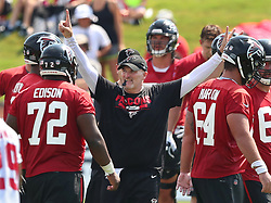 July 27, 2017 - Flowery Branch, GA, USA - Atlanta Falcons head coach Dan Quinn keeps the team moving on the first day of team practice at training camp on Thursday, July 27, 2017, in Flowery Branch, Ga. (Credit Image: © Curtis Compton/TNS via ZUMA Wire)