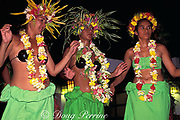 Tahitian dancers at hotel feast,<br /> Moorea, Society Islands, French Polynesia, <br /> ( South Pacific Ocean )
