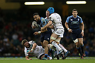 Willis Halaholo of the Cardiff Blues bursts through the Ospreys defence.  Guinness Pro12 rugby match, Judgement day, Cardiff Blues v Ospreys  at the Principality Stadium in Cardiff, South Wales on Saturday 15th April 2017. <br /> pic by Andrew Orchard, Andrew Orchard sports photography.