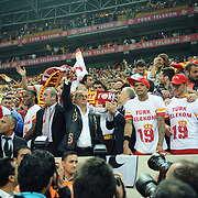 Galatasaray's coach Fatih Terim (C) celebrate victory during their Turkish Super League soccer match Galatasaray between Sivasspor at the AliSamiYen Spor Kompleksi TT Arena at Seyrantepe in Istanbul Turkey on Sunday 05 May 2013. Photo by TURKPIX