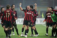 """Cristian Brocchi (2L) celebrates after scoring with teammates Andrea Pirlo (L), Dario Simic (18), Alessandro Nesta, Ricardo Kaka, Ricardo Oliveira and Filippo Inzaghi (R)<br /> <br /> Brocchi festeggia il gol con i compagni<br /> <br /> Italian """"Serie A"""" 2006-07 <br /> <br /> 11 November 2006 (Match Day 11) <br /> <br /> Milan Roma (1-2) <br /> <br /> """"Giuseppe Meazza"""" Stadium-Milano-Italy <br /> <br /> Photographer Andrea Staccioli INSIDE"""