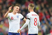 Ben Chilwell of England celebrates with Jordan Henderson  of England after the UEFA European 2020 Qualifier match between England and Czech Republic at Wembley Stadium, London, England on 22 March 2019.