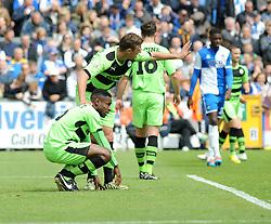 Forest Green Rovers's Dale Bennett picks up a slight injury- Photo mandatory by-line: Nizaam Jones /JMP - Mobile: 07966 386802 - 03/05/2015 - SPORT - Football - Bristol - Memorial Stadium - Bristol Rovers v Forest Green Rovers - Vanarama Football Conference.