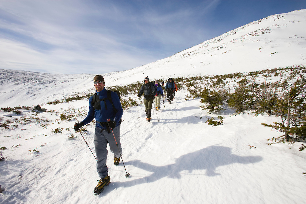 Winter hiking near Lion Head on Mount Washington in New Hampshire's White Mountain National Forest.