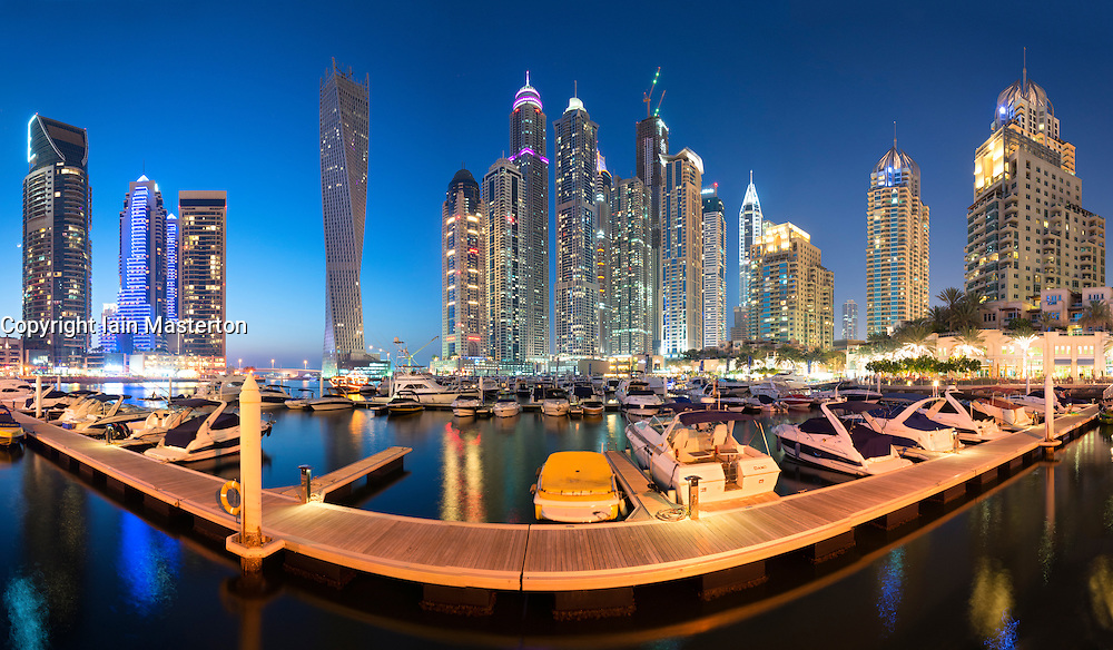 Evening panorama skyline of Marina district in Dubai United Arab Emirates
