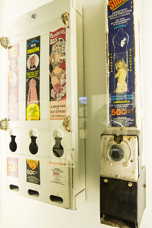 Dispensers for condoms are part of ObjectXXX, a selection of sex objects and toys from the Museum of Sex permanent collection.