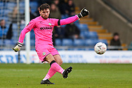 Forest Green Rovers goalkeeper James Montgomery clears the ball upfield during the The FA Cup 1st round match between Oxford United and Forest Green Rovers at the Kassam Stadium, Oxford, England on 10 November 2018.