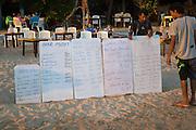 Menu boards for beach bar restaurant, Mirissa, Sri Lanka, Asia
