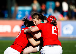 Nicole Cronin of Ireland  is tackled by /Carys Phillips of Wales <br /> <br /> Photographer Simon King/Replay Images<br /> <br /> Six Nations Round 5 - Wales Women v Ireland Women- Sunday 17th March 2019 - Cardiff Arms Park - Cardiff<br /> <br /> World Copyright © Replay Images . All rights reserved. info@replayimages.co.uk - http://replayimages.co.uk