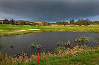 GLENEAGLES SCHOTLAND - Hole 2 van PGA Centenary Course  van Gleneagles.  Er zijn drie bannen van Gleneagles. De Queen's Corse, King's  Corse en de belangrijkste is de PGA Centenary Course. Op de PGA course wordt in 2014 de Ryder Cup gespeeld. Het Gleneagles Hotel heeft 5 sterren en het restaurant van Andrew Fairlie met 2 Michelin sterren. FOTO KOEN SUYK