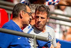 August 5, 2018 - Maurizio Sarri manager of Chelsea and Gianfranco Zola assistant manager of Chelsea during the 2018 FA Community Shield match between Chelsea and Manchester City at Wembley Stadium, London, England on 5 August 2018. (Credit Image: © AFP7 via ZUMA Wire)