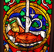 Tree of Jesse Window:  The Reclining Jesse, King David and Scenes from the Life of Jesus.  Pot-metal glass, vitreous paint and lead.  German, Swabia.  Painted 1280-1300.  The book of Isaiah presents Jesse, an ancestor of Jesus, as the root of a great tree, a symbol of his illustrious progeny.
